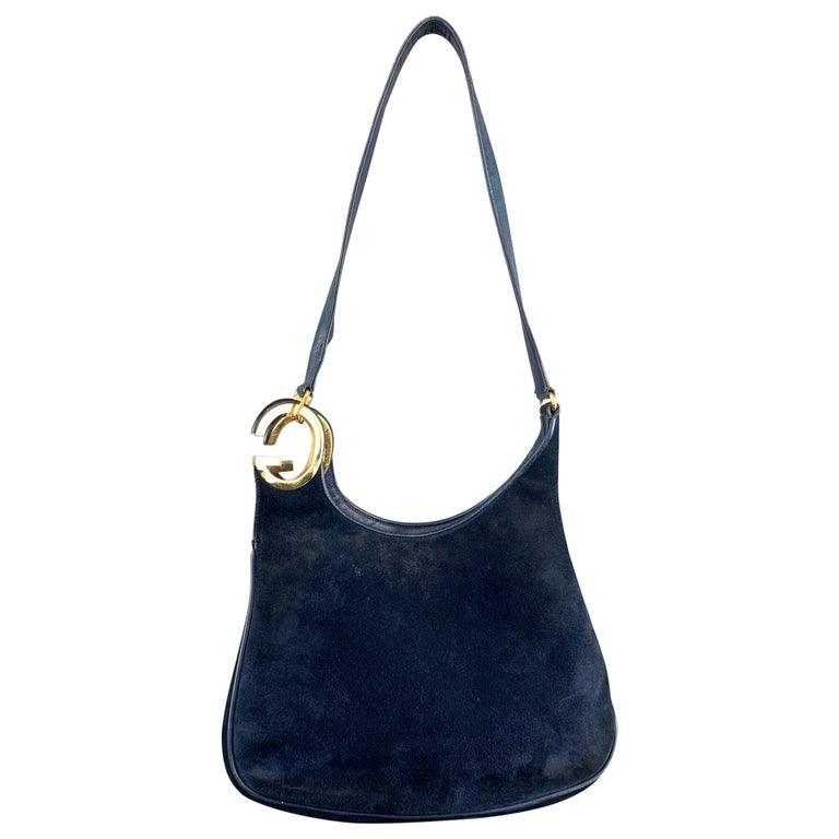 Vintage GUCCI Navy Blue Suede Gold Tone GG Shoulder Bag For Sale