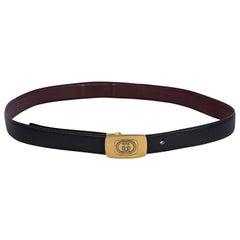 Vintage Gucci Reversible Skinny Leather Belt