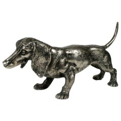 Vintage Gucci Silver-Plated Dachshund Dog Table Sculpture, circa 1970