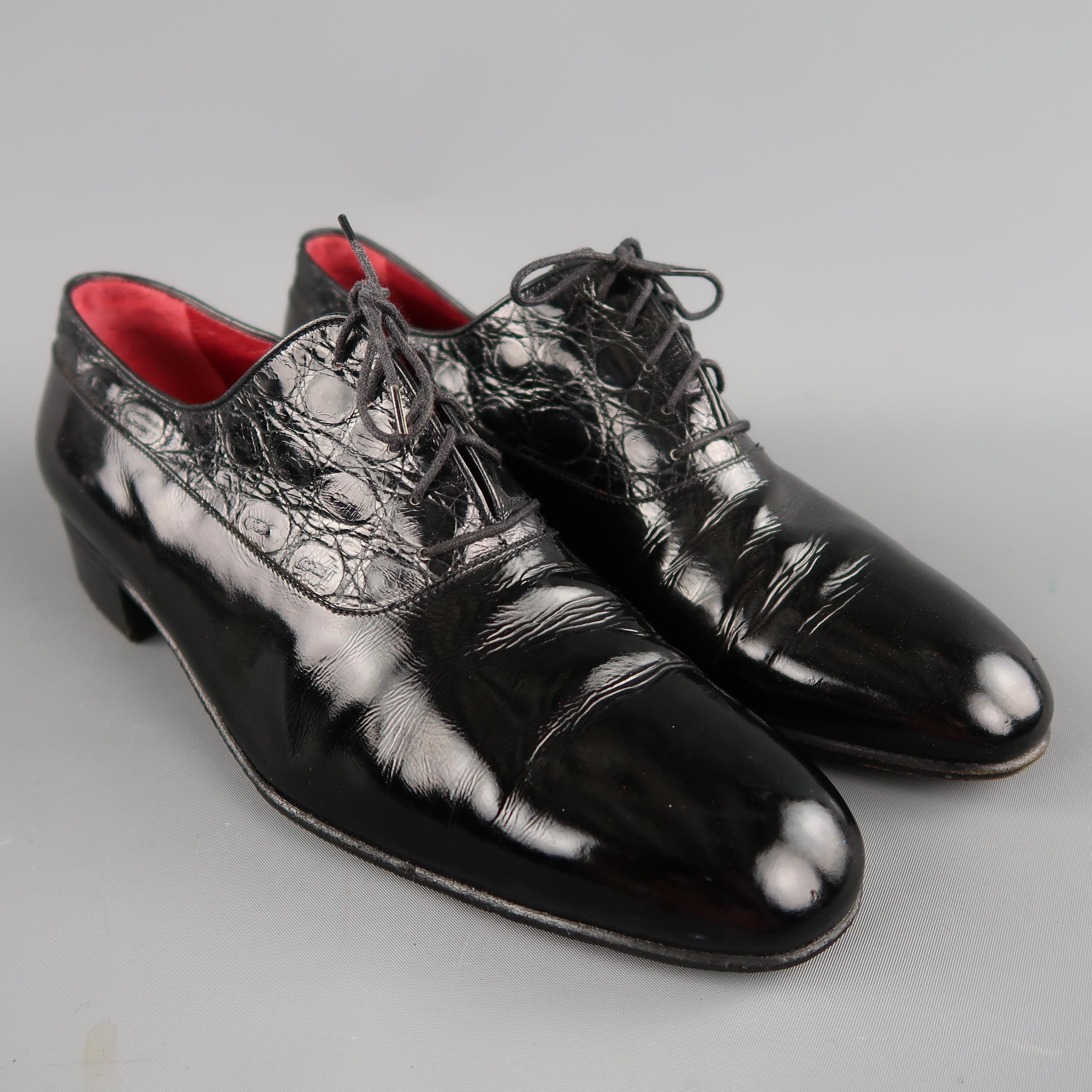 Vintage Gucci Size 95 Black Mixed Patent Leather Lace Up Dress Shoes