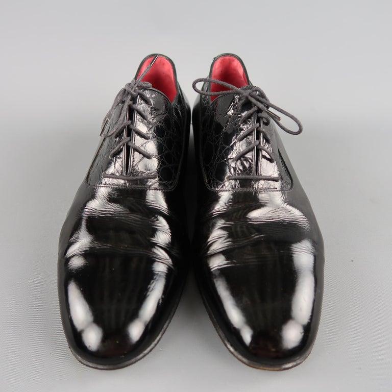 f55b0fd2b05 Men s Vintage GUCCI Size 9.5 Black Mixed Patent Leather Lace Up Dress Shoes  For Sale