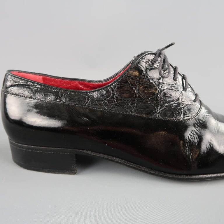 ed4acb1afb7 Vintage GUCCI Size 9.5 Black Mixed Patent Leather Lace Up Dress Shoes For  Sale 1