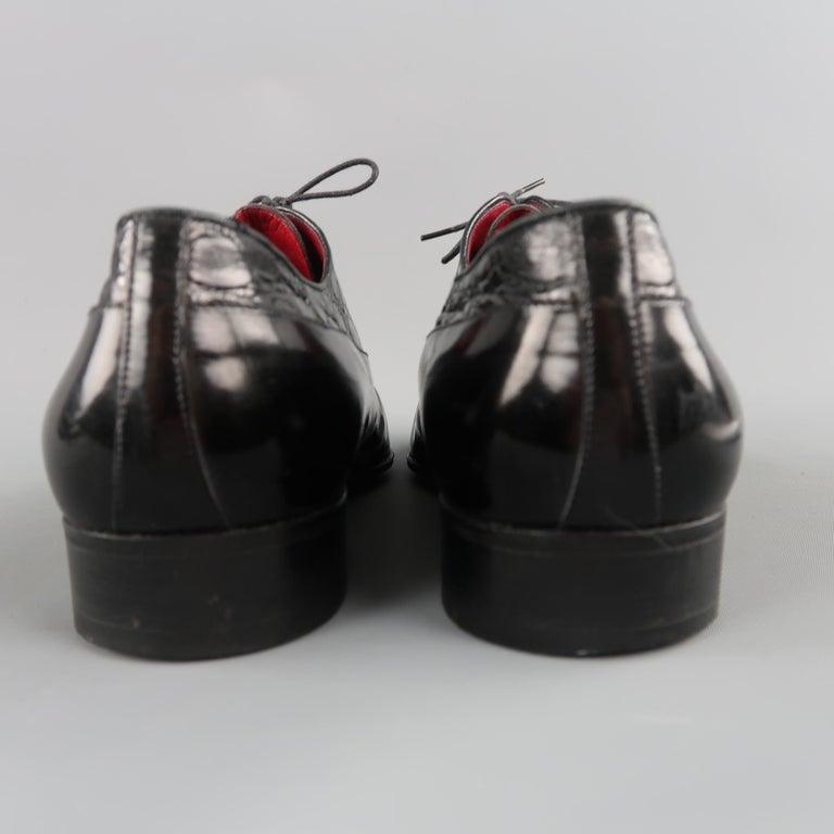 1effefea032 Vintage GUCCI Size 9.5 Black Mixed Patent Leather Lace Up Dress Shoes For  Sale 2