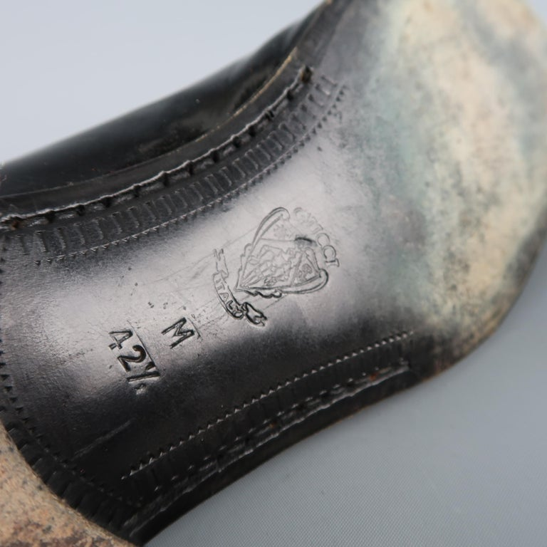 e08d0683026 Vintage GUCCI Size 9.5 Black Mixed Patent Leather Lace Up Dress Shoes For  Sale 3