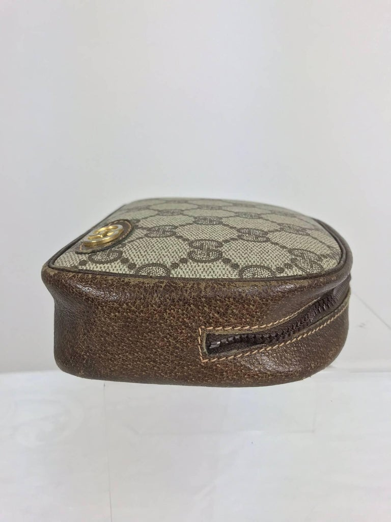 Gray Vintage Gucci small leather and monogram vinyl cosmetic bag  For Sale