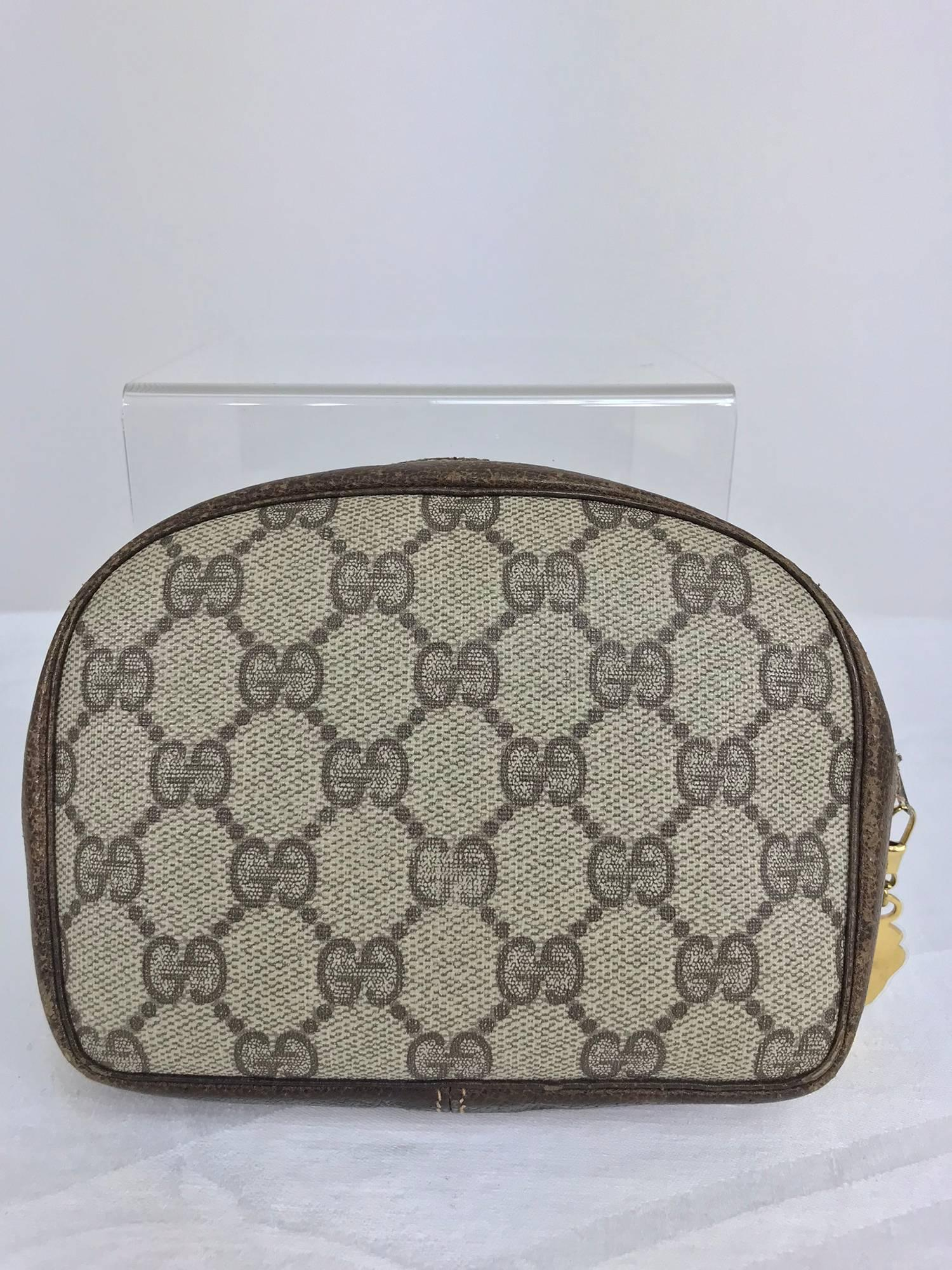 098acf4c080851 Vintage Gucci small leather and monogram vinyl cosmetic bag For Sale at  1stdibs