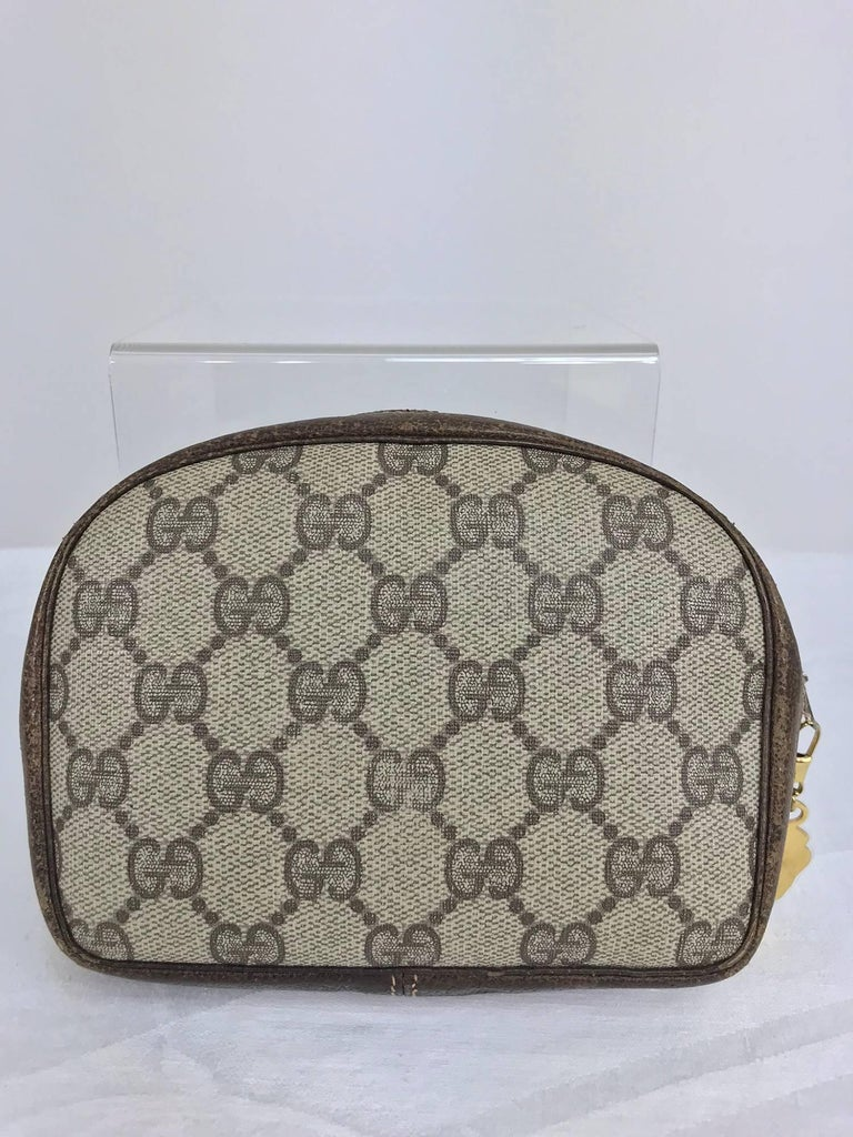 Women's or Men's Vintage Gucci small leather and monogram vinyl cosmetic bag  For Sale