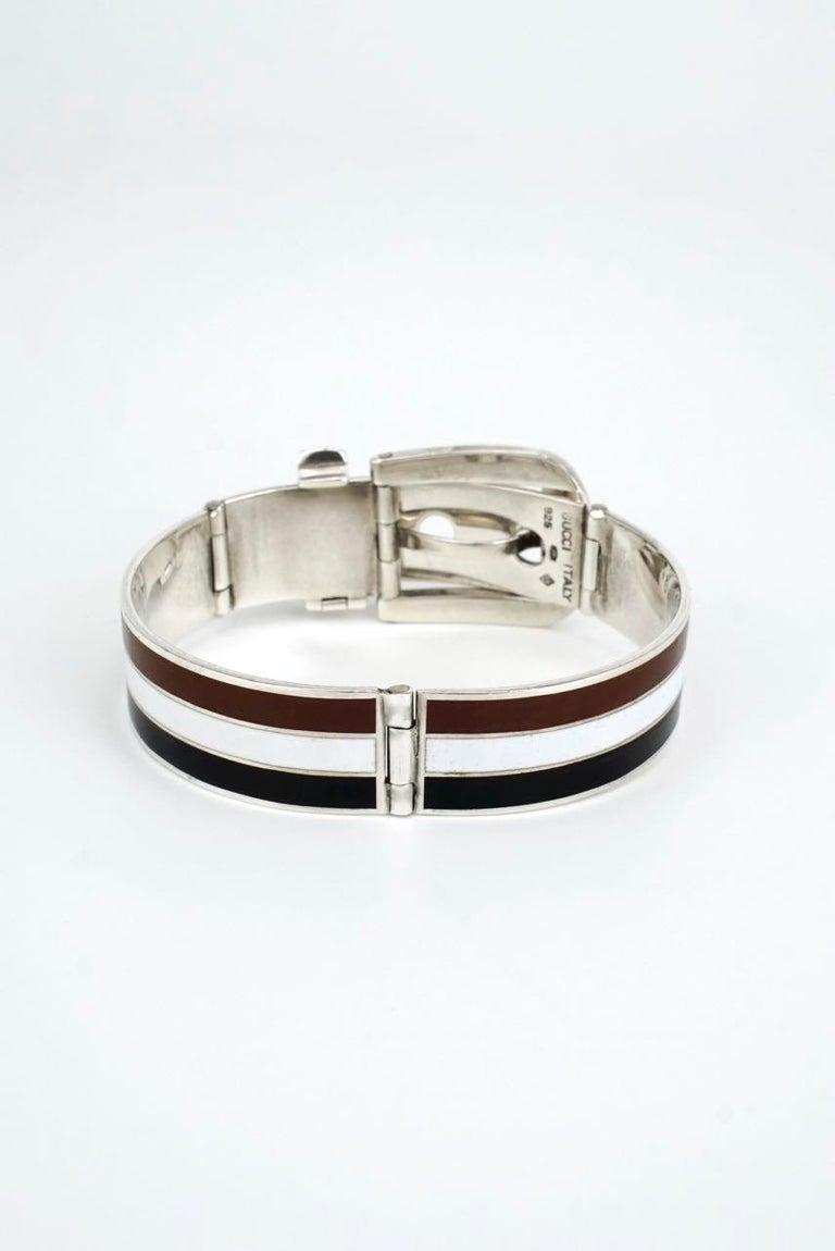 Modernist Vintage Gucci Solid Silver White Brown Black Enamel Belt Buckle Bracelet, 1960s For Sale