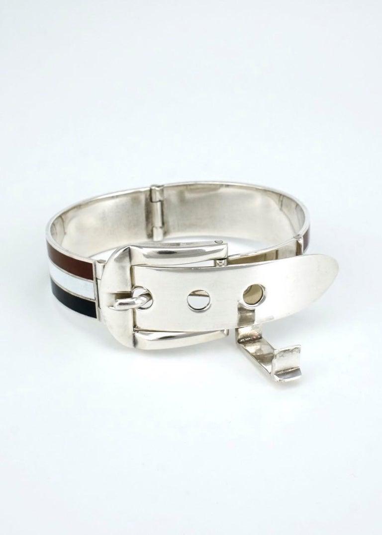 Women's or Men's Vintage Gucci Solid Silver White Brown Black Enamel Belt Buckle Bracelet, 1960s For Sale