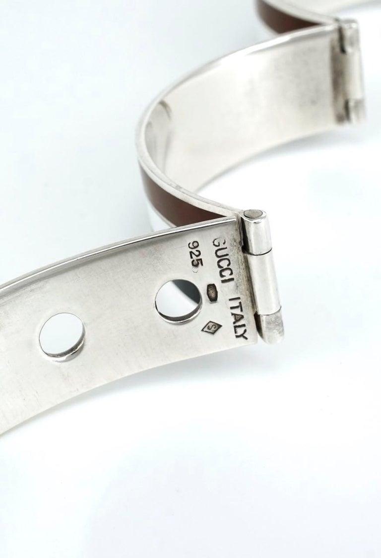 Vintage Gucci Solid Silver White Brown Black Enamel Belt Buckle Bracelet, 1960s For Sale 1