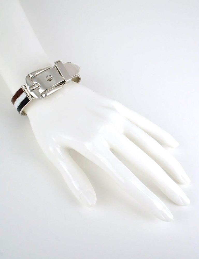 Vintage Gucci Solid Silver White Brown Black Enamel Belt Buckle Bracelet, 1960s For Sale 2