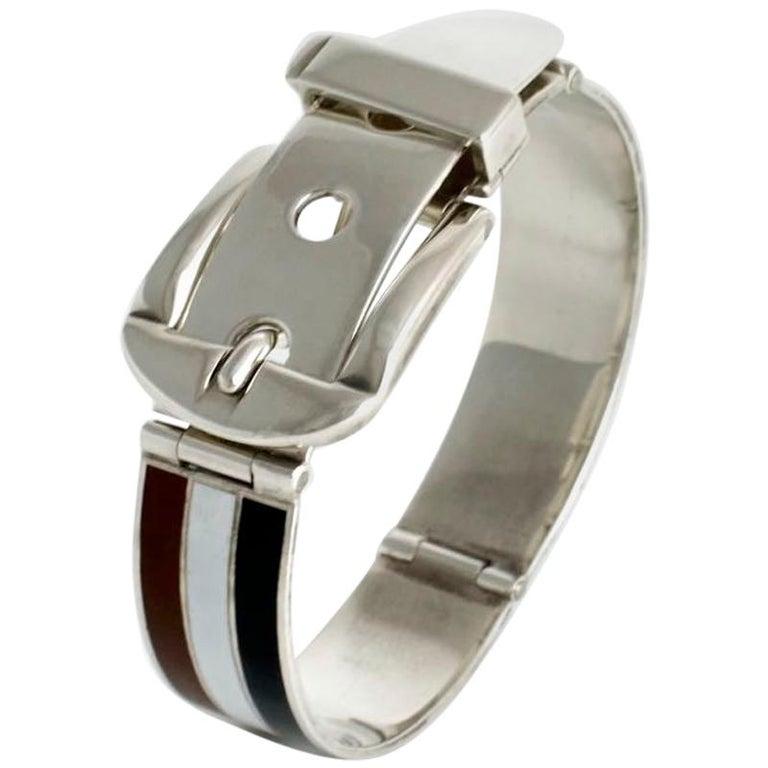 Vintage Gucci Solid Silver White Brown Black Enamel Belt Buckle Bracelet, 1960s For Sale