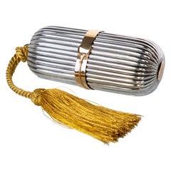 Vintage Gucci Sterling Silver 18K Gold Tassel Minaudiere Clutch
