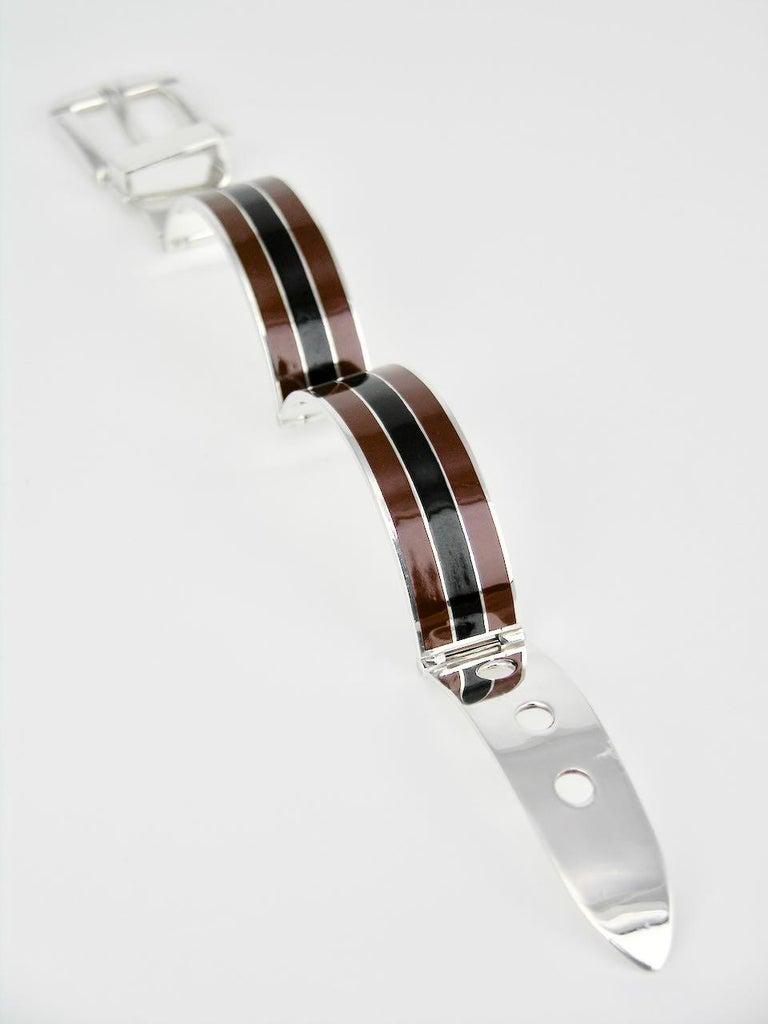 Modernist Vintage Gucci Sterling Silver Enamel Belt Buckle Bracelet, 1960s For Sale
