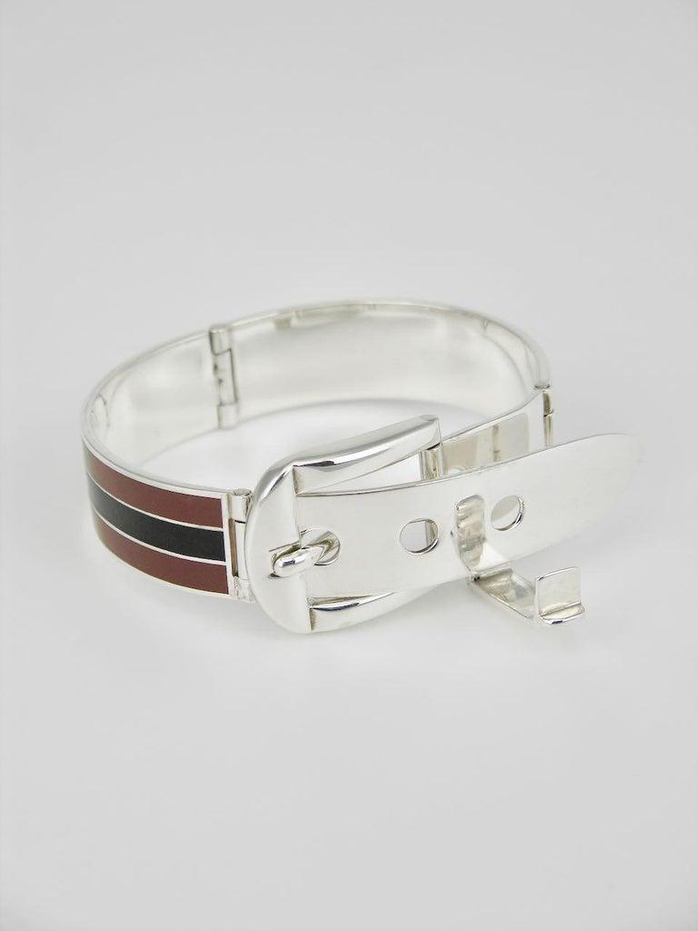 Vintage Gucci Sterling Silver Enamel Belt Buckle Bracelet, 1960s In Good Condition For Sale In Sydney, NSW