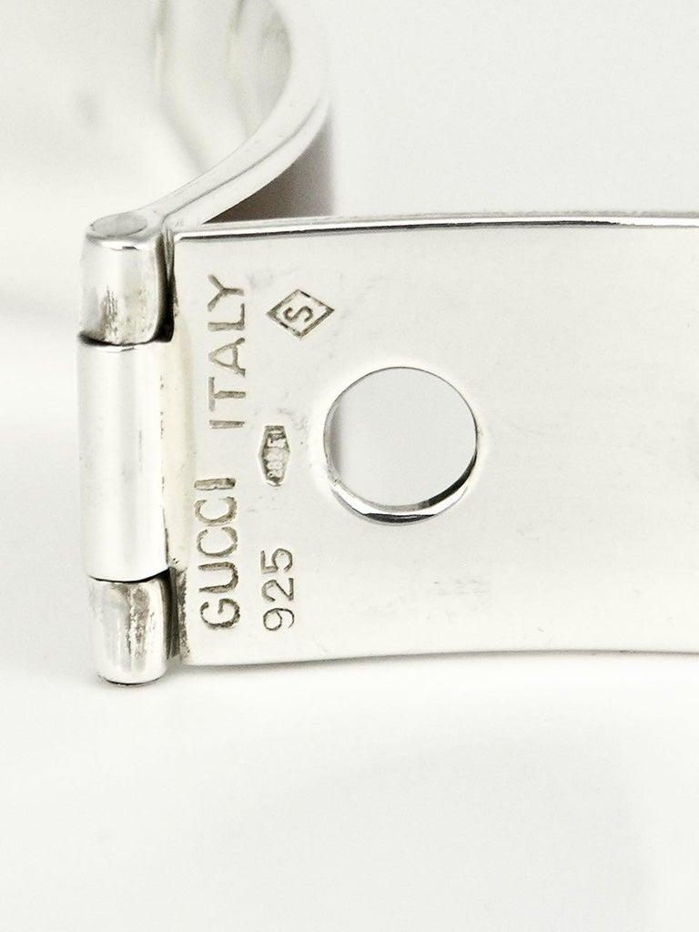 Women's or Men's Vintage Gucci Sterling Silver Enamel Belt Buckle Bracelet, 1960s For Sale