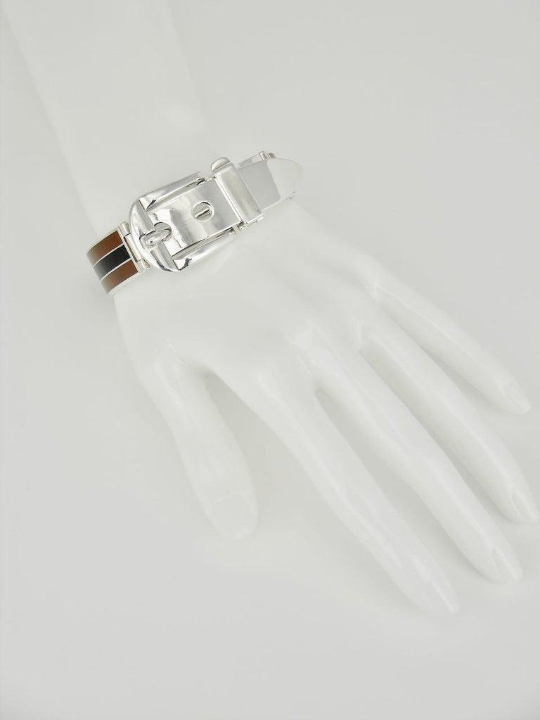 Vintage Gucci Sterling Silver Enamel Belt Buckle Bracelet, 1960s For Sale 1