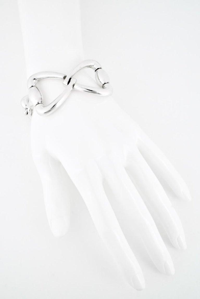 Vintage Gucci Sterling Silver Heart Horse Bit Bracelet For Sale 1