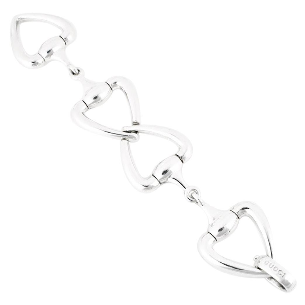 Vintage Gucci Sterling Silver Heart Horse Bit Bracelet