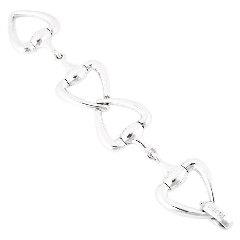 Vintage Gucci Sterling Silver Heart Horse Bit Bracelet For Sale