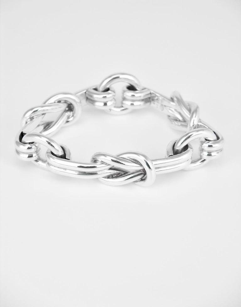 Modernist Vintage Gucci Sterling Silver Hercules Knot Link Designer Bracelet, 1960s, Italy For Sale
