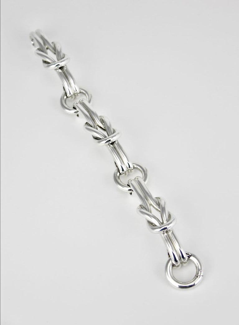 Vintage Gucci Sterling Silver Hercules Knot Link Designer Bracelet, 1960s, Italy In Good Condition For Sale In Sydney, NSW