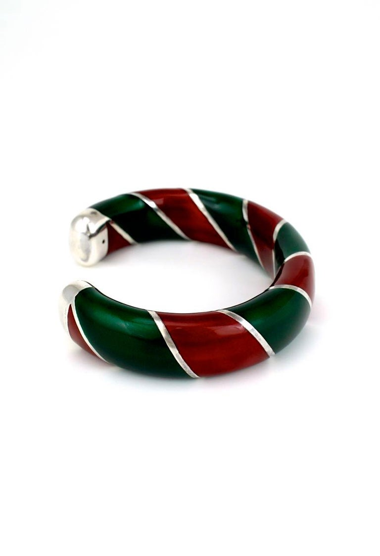 Vintage Gucci Sterling Silver Red and Green Enamel Designer Cuff Bangle, 1980s In Good Condition For Sale In Sydney, NSW