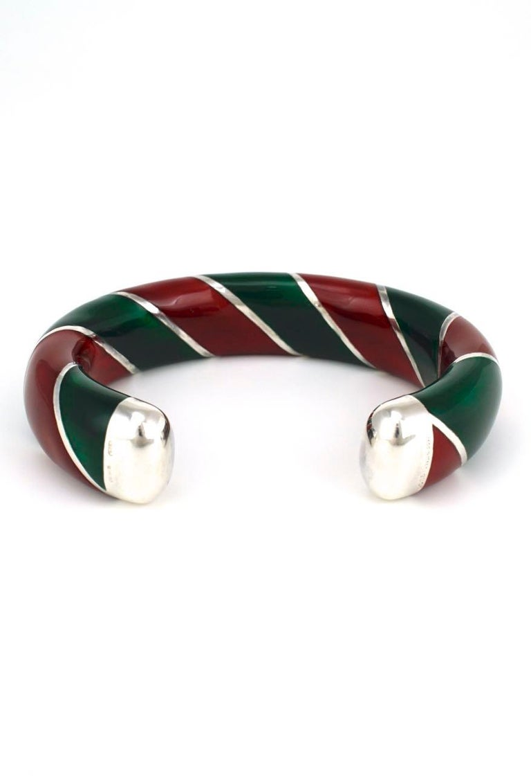 Women's Vintage Gucci Sterling Silver Red and Green Enamel Designer Cuff Bangle, 1980s For Sale