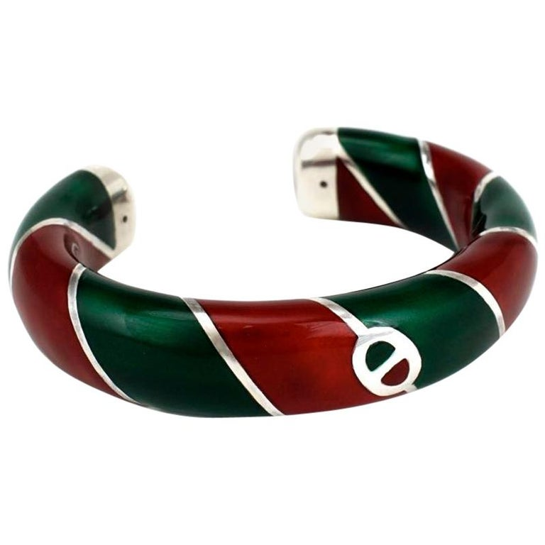 Vintage Gucci Sterling Silver Red and Green Enamel Designer Cuff Bangle, 1980s For Sale