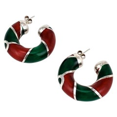 Vintage Gucci Sterling Silver Red and Green Enamel Designer Hoop Earrings, 1980s