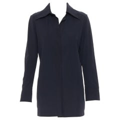 vintage GUCCI TOM FORD 1996 black rayon nylon wide collar casual long shirt IT38