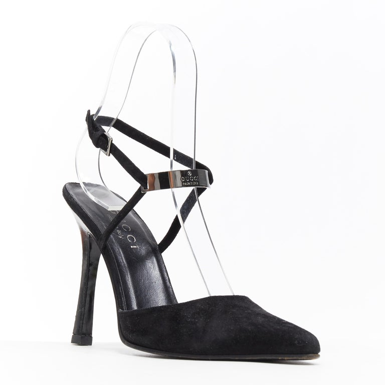 vintage GUCCI TOM FORD black suede metal logo plate ankle strap pump EU37.5 Brand: Gucci Designer: Tom Ford Model Name / Style: Pump Material: Suede Color: Black Pattern: Solid Closure: Buckle Extra Detail: Ultra High (4 in & Higher) heel height.