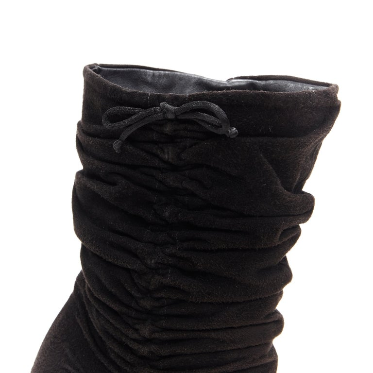 vintage GUCCI TOM FORD black suede ruched leather scaled chunky heel boot EU36 C For Sale 4