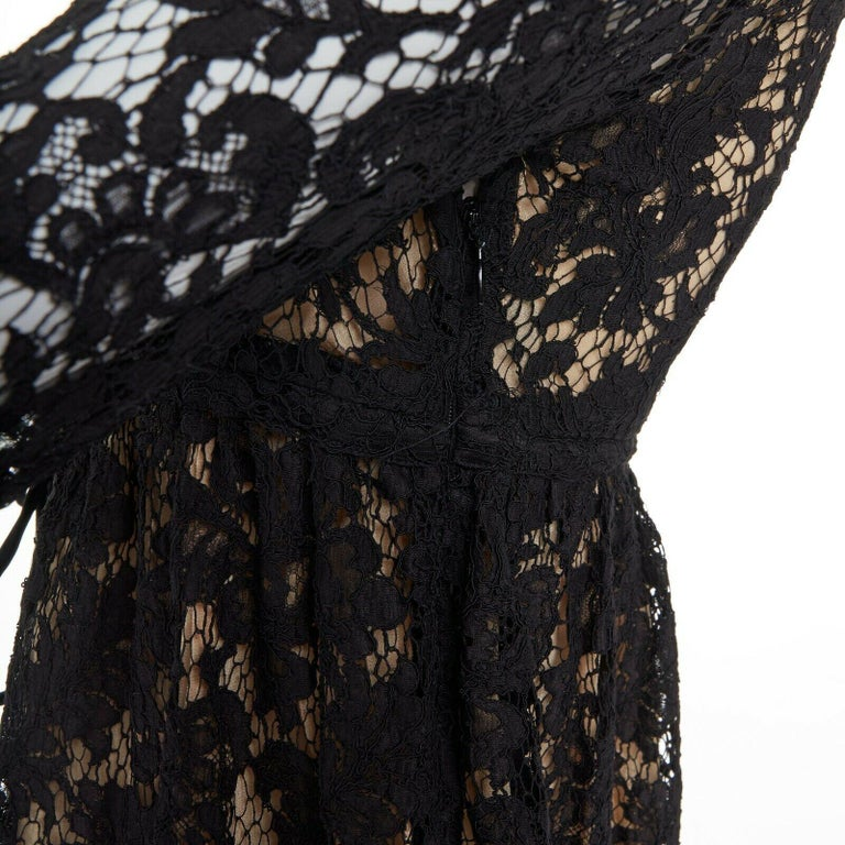 vintage GUCCI TOM FORD SS96 runway black lace scoop flare sleeve mini dress S For Sale 6