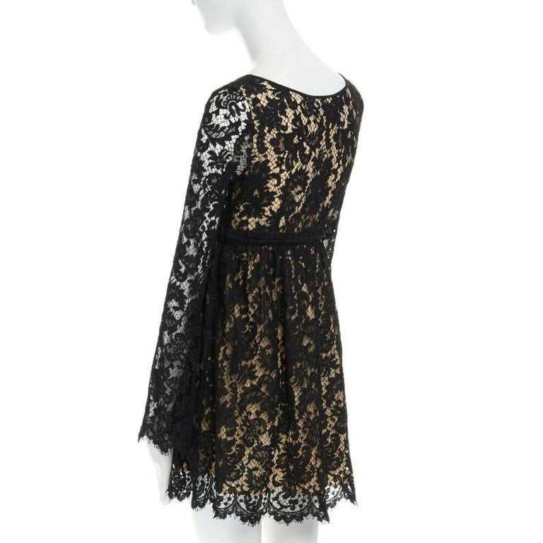 vintage GUCCI TOM FORD SS96 runway black lace scoop flare sleeve mini dress S For Sale 1