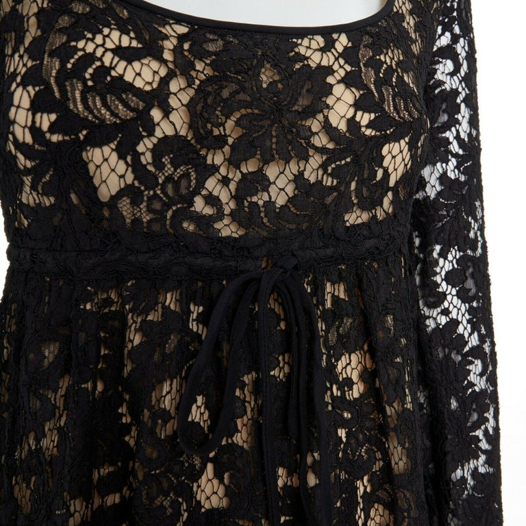 vintage GUCCI TOM FORD SS96 runway black lace scoop flare sleeve mini dress S For Sale 3