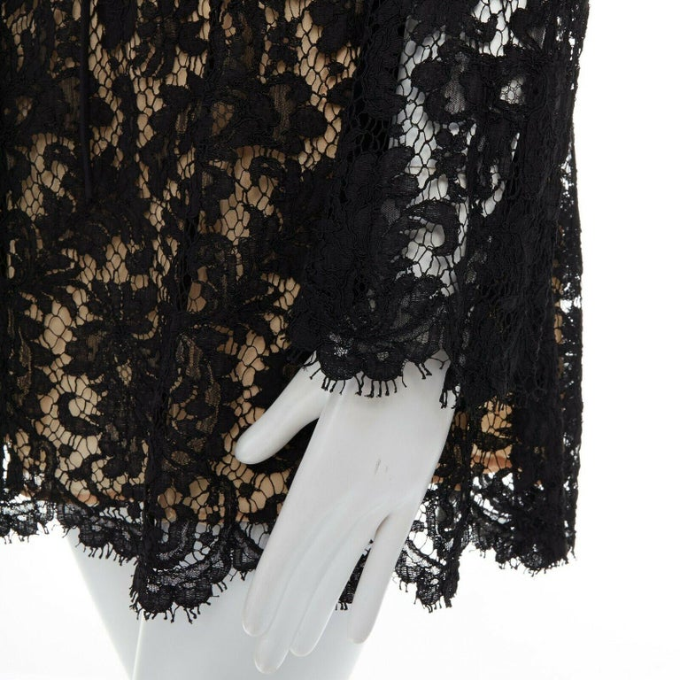 vintage GUCCI TOM FORD SS96 runway black lace scoop flare sleeve mini dress S For Sale 4