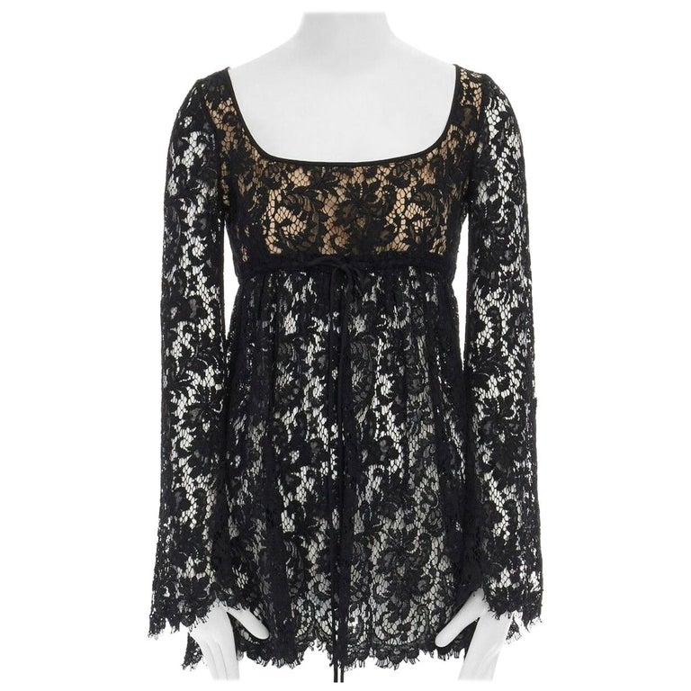 vintage GUCCI TOM FORD SS96 runway black lace scoop flare sleeve mini dress S