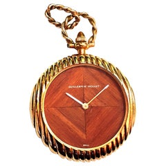 Vintage Guillermin Mollet Mahogany Dial Yellow Gold Pocket Watch