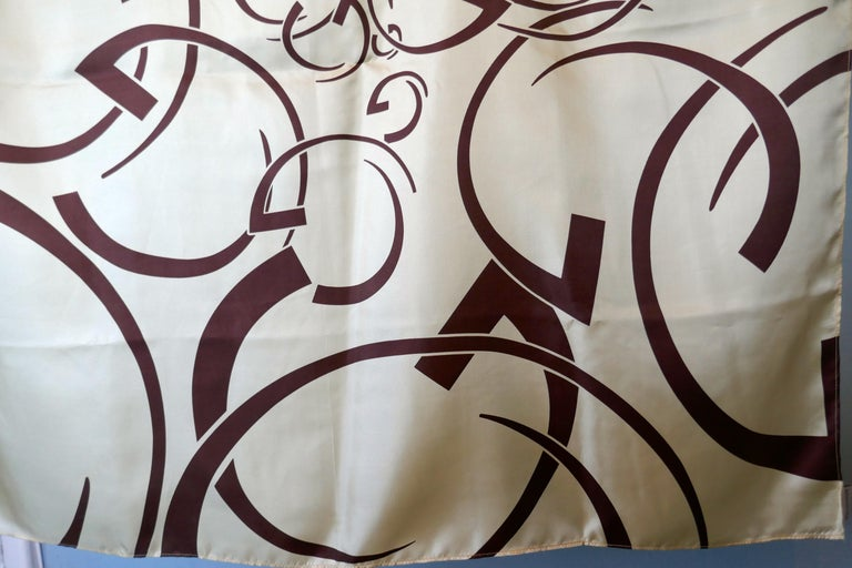 Women's Vintage Guinot Cosmetics Company Silk Scarf Limited Edition Guinot Monogram  For Sale