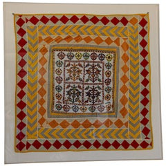 Vintage Gujarat Saurashta Ethnic Beaded Textile India Framed