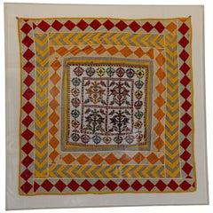 Vintage Gujarat Saurashta Ethnic Beaded Textile India Framed