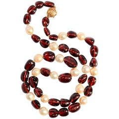 Vintage Gump's Garnet and Pearl Necklace