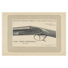 Vintage Gun Print of a Double Barreled Shotgun 'English Model' by Mahler 1907