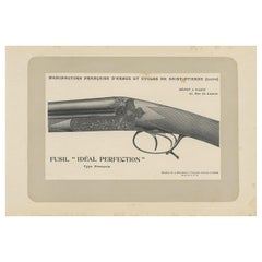 Vintage Gun Print of a Double Barreled Shotgun 'French Model' by Mahler, '1907'