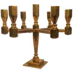 Vintage Gusum Large Brass Table Candelabra Sweden, 1970s