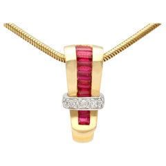 Vintage Guy Laroche Diamond and Synthetic Ruby Yellow Gold Pendant