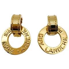 Vintage Guy Laroche Earrings Day To Night Logo Hoops 1980s