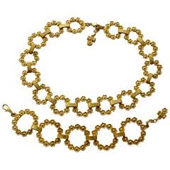 Vintage GUY LAROCHE Flower Necklace Bracelet Set