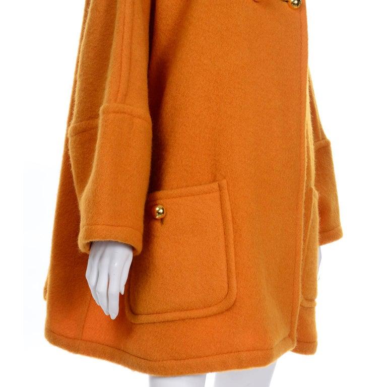 Vintage Guy Laroche Tangerine Orange Mohair & Wool Swing Coat With Front Pockets For Sale 6